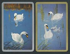 #950.480 vintage swap card -EXC pair- White Swans, gold & silver borders