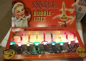 RARE NOMA C6 FLYING SAUCER BUBBLE LIGHTS SET OF 9 W/CLIPS !! ALL WORKING!! L@@K!
