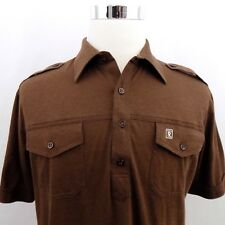 Tori Richard Honolulu Men's Size Large Brown Short Sleeve Casual Polo Shirt