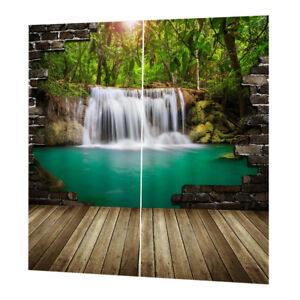 2 Panels Digital Nature Scenery Print Blackout 3D Curtain Darkening Drapes