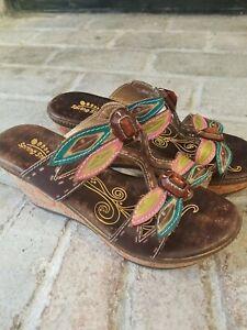 "Spring Step L'Artiste ""Bonita"""" Size 38 sz 8 Brown pink Sandals Heel wedge Shoes"