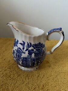 "Sadler Blue & White Milk/Cream Jug,4.25"" tall (421)"