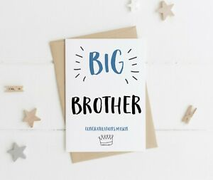 PERSONALISED BIG BROTHER CONGRATULATIONS CARD NEW BIG BROTHER NEW BABY