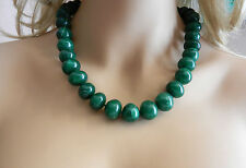 "Beautiful 14k Gold EZ Clasp Lock Natural Emerald Round Beads Necklace 21"" long"
