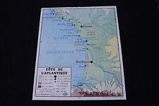 Affiche Scolaire vintage Côte Atlantique Océan Méditerranée Mer Rossignol 90*75