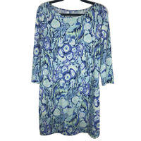 Lilly Pulitzer Womens Blue Floral 3/4 Sleeves Marlowe T Shirt Dress Size Medium
