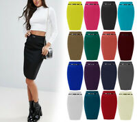 New Womens Ladies Ponte Plain Fine Ribbed Belted Midi Pencil Office Skirt 8-26