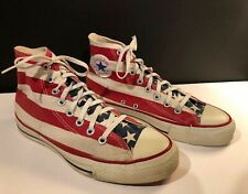 Vintage 80's Converse Chuck Taylor American Flag Print Made In USA Size 8