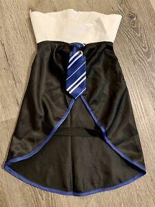 New Dog Dress Up Shirt & Tie Outfit Doggie Size Large Blue/Black Dog Dress Shirt