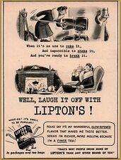 1943 Lipton Tea Comic Cartoon Poem Woman Stoking Coal Furnace Poem Darrow Ad