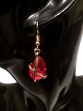 Womens GOLD RED Stone Hook Drop Dangle Earrings Wedding Party VALENTINES DAY