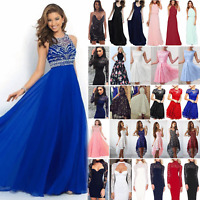 Womens Long Maxi Dress Chiffon Lace Evening Formal Party Gown Wedding Bridesmaid