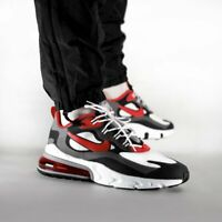 NIKE AIR MAX 270 - REACT - BLACK UNIVERSITY RED WHITE IRON GREY - UK SIZES