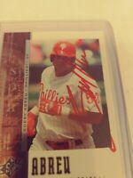 Bobby Abreu Hand Signed Philadelphia Phillies Baseball Card