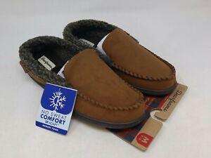 Dearfoams Men's Chestnut Eli Moccasin Slippers Size 9-10 US