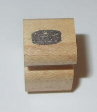 """Hockey Puck Rubber Stamp Sports Wood Mounted 1/2"""" square"""