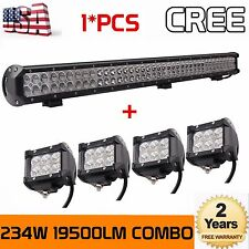 36 INCH 234W Combo LED Work Light Bar For 4x4 Offroad Tractor+4X 18W Pods Cube