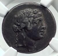 PANTIKAPAION in BOSPORUS 90BC Authentic Ancient Greek Coin w DIONYSUS NGC i79642