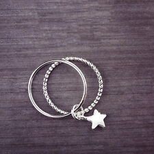 Argento Sterling 925, linea Donna Graziosa Fashion Star Ciondolo Doppio 2 due anello di banda