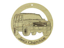 Jeep Cherokee Natural Maple Hardwood Ornament Sanded Finish Laser Engraved