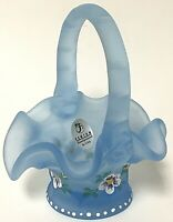 Fenton Blue Satin Glass With Hand Painted Flowers Signed Mini Basket