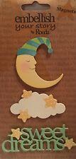 NIP Embellish Your Story Sweet Dreams Magnets By Roeda Moon Stars Cloud Baby