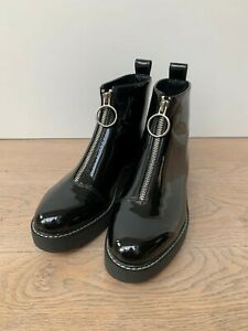 Zara Black Zip Boots With Red Sole - Size 5 / 38