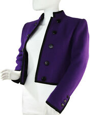 Yves Saint Laurent Rive Gauche Vintage 80s Purple Wool Bolero Jacket Size 34