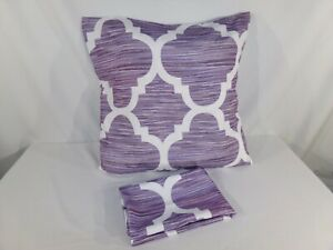 Set of 2 Purple White SQUARE PILLOW COVERS POLYESTER Zipper Moroccan Stripes
