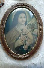 Rare Vintage Dome Convex Glass Picture Photo Frame Religious C1930's