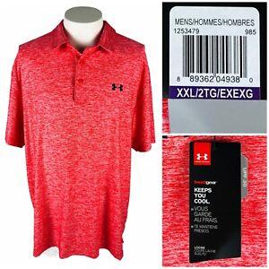 Under Armour Mens 2XL Shirt Golf Pink UA Playoff Polo Graphic 1253479 NWT $59.99