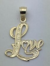 """New Solid 14K Yellow Gold  Filigree """"Love"""" Heart Charm Pendant 1.2 grams Jewelry"""