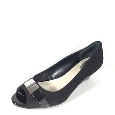 Alfani Chordef Women's Size 9.5 M Black Wedge Open Toe Heel Pump Shoes.