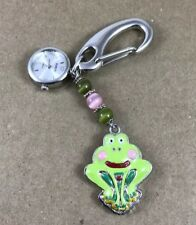 Frog Pendant Works New Battery Ladies Watch Clip-On Stainless With