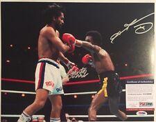 Sugar Ray Leonard and Roberto Duran Autographed 11x14 Boxing Photo 4 PSA/DNA COA