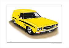 HOLDEN HQ SANDMAN  PANELVAN  LIMITED EDITION CAR DRAWING  PRINT (7 CAR COLOURS)