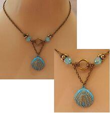 Gold & Blue Shell Pendant Necklace New Handmade Adjustable Beach Nautical