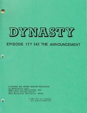 JOAN COLLINS - LINDA EVANS - Orig DYNASTY TV Script 'THE ANNOUNCEMENT' 1987 C#12