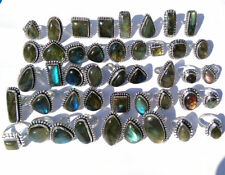100 PCs. NATURAL Blue Flashy LABRADORITE 925 Sterling Silver Plated Ring Jewelry