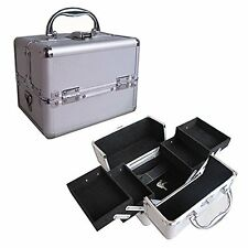 "8"" Pro Aluminum Makeup Train Case Jewelry Box Cosmetic Organizer Silver 4 Trays"