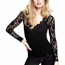 Lace Clubwear Long Sleeve Floral Tops & Blouses for Women