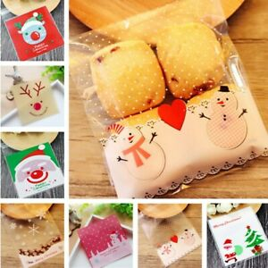 100PCs Cookie Plastic Bags Merry Christmas Cellophane Party Bags Candy Bag