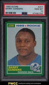1989 Score Football Barry Sanders ROOKIE RC #257 PSA 10 GEM MINT