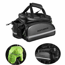 RockBros Bike Rack Bag Carbon Leather Rear Pack Trunk Pannier Waterproof Black