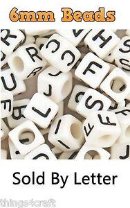 LETTER White Cube ALPHABET BEADS 6mm Sold By Letter - UK Seller