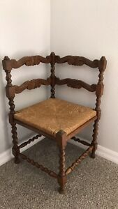 Antique Corner Chair, original rush seat, solid hand carved wood