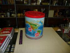 Coca-Cola Metal Barrel Can Popcorn Tin --WORLD--HAS A DENT