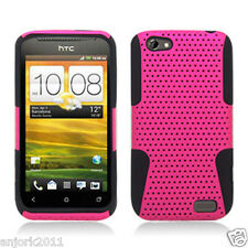 HTC ONE V MESH HYBRID HARD CASE SKIN COVER ACCESSORY HOT PINK BLACK