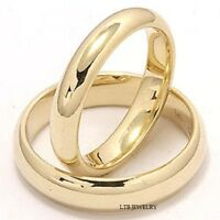 14K YELLOW GOLD MATCHING HIS & HERS WEDDING BANDS RINGS MENS WOMENS SET