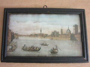 "Antique 1750 View of Florence, Italy - Framed color engraving 8""x12"" #2"